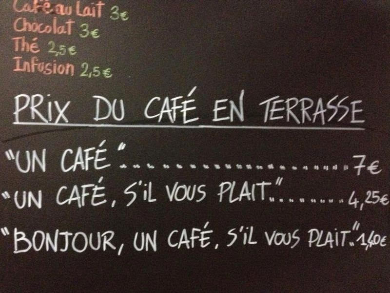 French Cafe Charges Rude Customers More Than Double