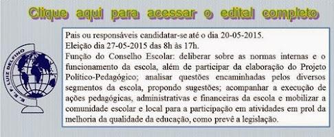 EDITAL DE ELEIÇÃO CONSELHO ESCOLAR