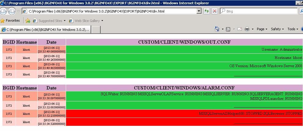 BGINFO4X - HTML Report