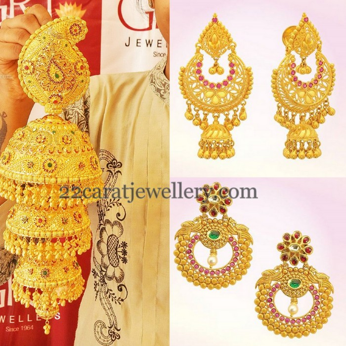 GRT Gold Trendy Earrings Show Jewellery Designs