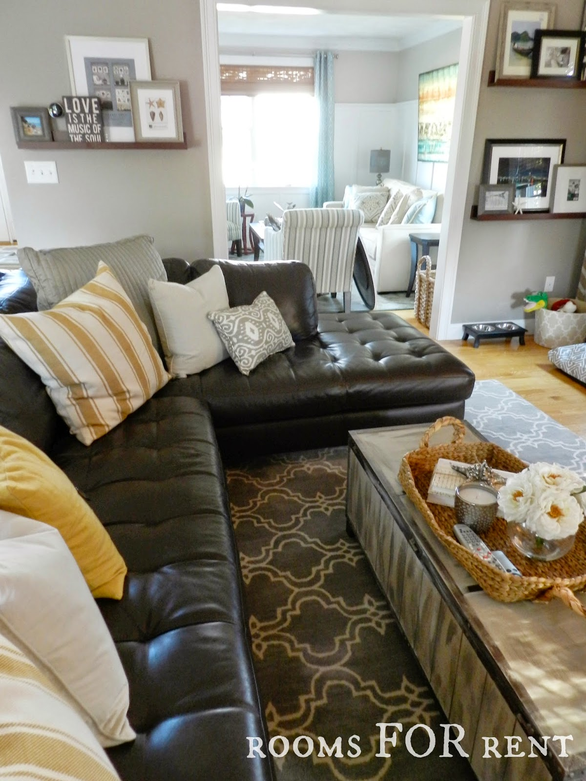 Leather Couch Living Room How To Style A Dark Leather Sofa Den Makeover Beneath My Heart