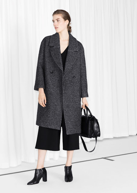 grey stories coat, masculine wool coat,