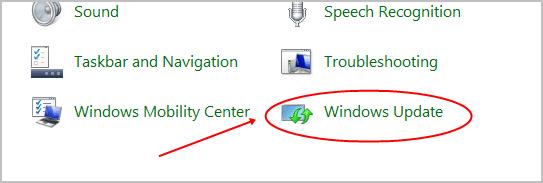 windows update control panel