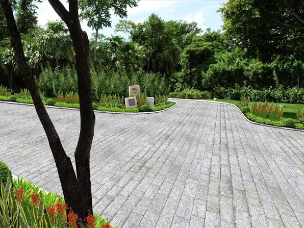 diseño jardín camino acceso al hotel