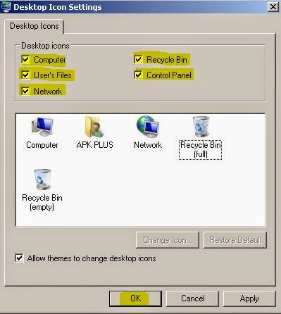 desktop icon settings in control panel personalization