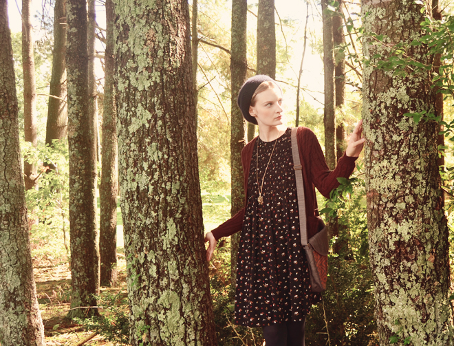 Outfit: black ditsy print smocked dress with burgundy cardigan