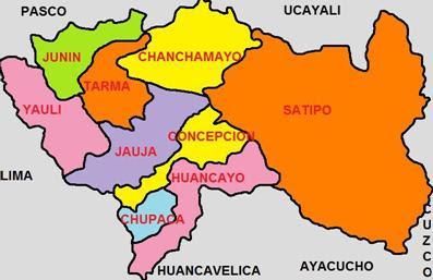 Imagen Mapa del Departamento de Junín (División Política de Junín)