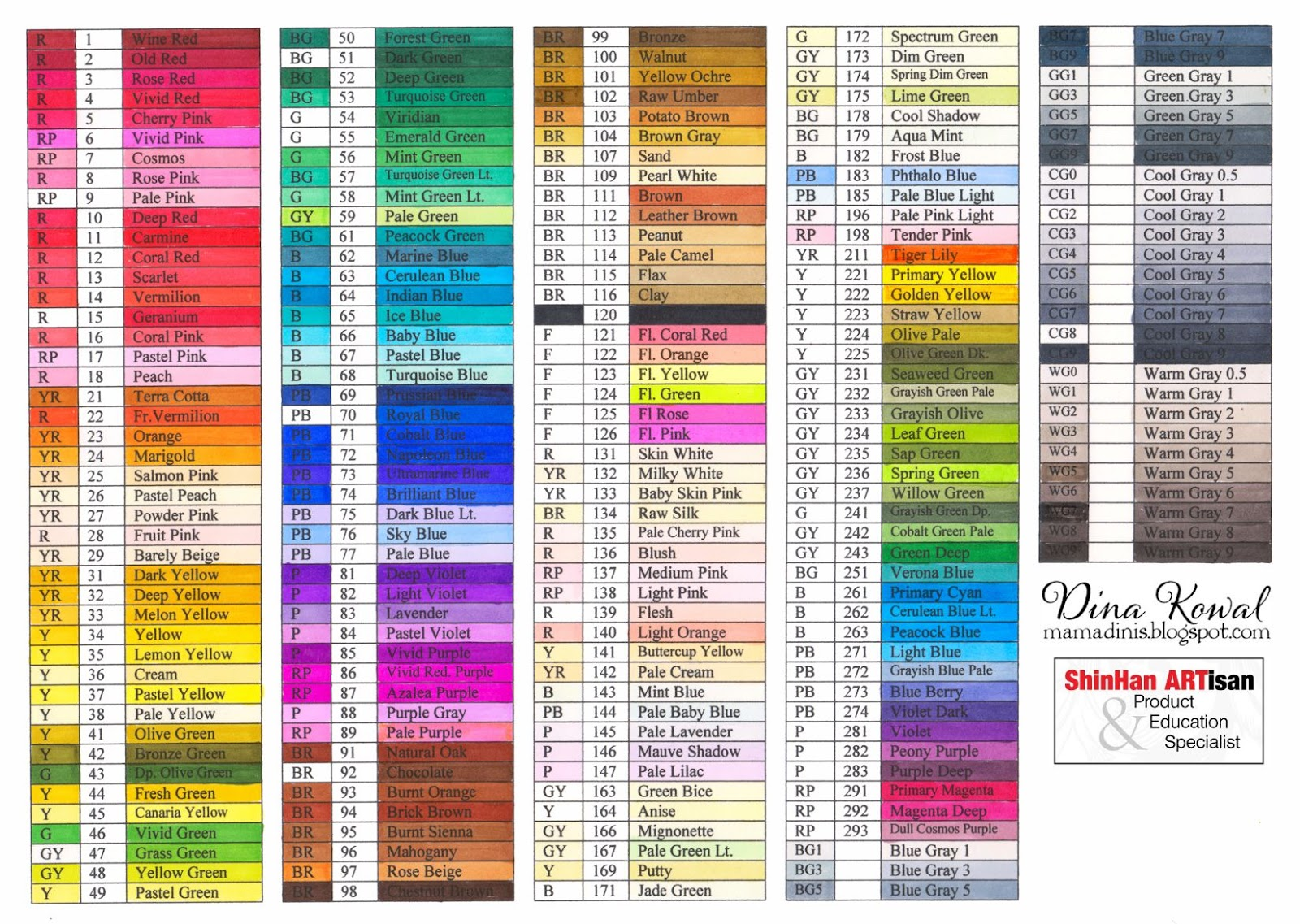 Dina kowal creative touch marker color charts nvjuhfo Image collections
