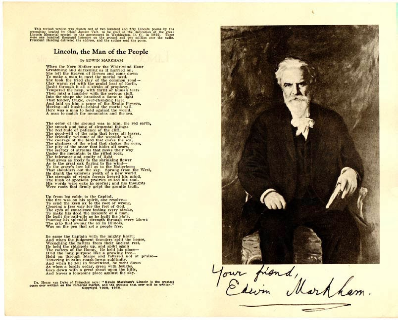 """edwin markham's the man with a Edwin markham, who has been called """"the dean of american poets,"""" received national fame, and later worldwide fame, when he published """"the man with the hoe"""" it changed his career immediately the poem consists of forty-nine lines divided into five stanzas of social commentary that focus on america's working class and their sufferings."""