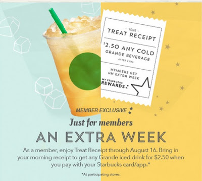 Starbucks Treat Receipt $2.50 Grande Cold Drinks With Morning Receipt