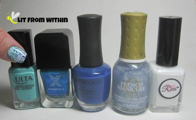 Bottle shot:  Ulta Mint Condition, Sephora X PhotoElectric, Nanacoco My Prince, Orly Etoile, and Rica Whiteout.