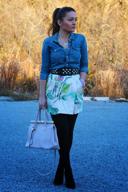 H&M skirt, studded belt