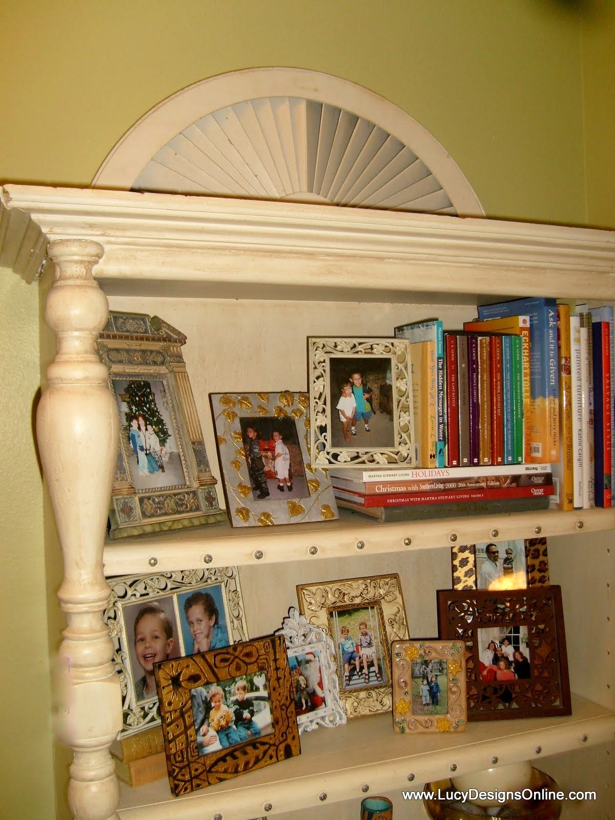 bookshelf makeover with molding and balustrades
