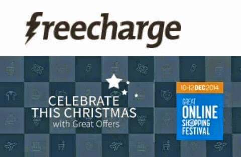 Freecharge Great Online Shopping Festival 2014 Offer ( 10-12 Dec )