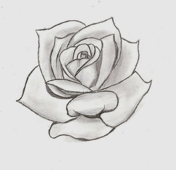 Rose bud tattoo stencil