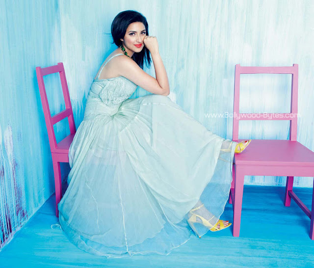 Parineeti Chopra wearing Sizzling white Dress Photoshoot for Cosmopolitan India July 2012