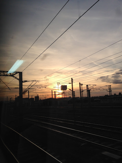 Sunset over Old Oak Common train depot