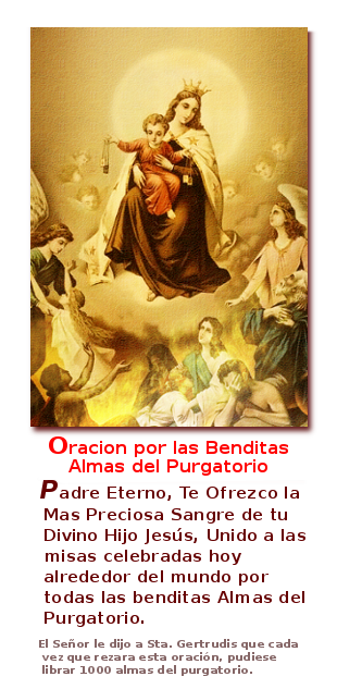 virgen del carmen con oracion para las almas en el purgatorio