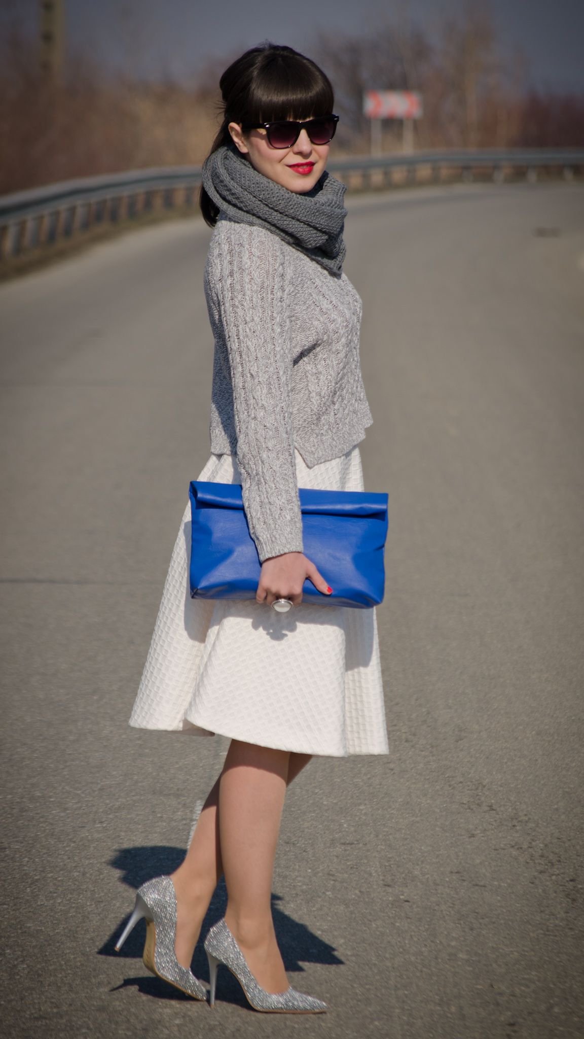 white full circle h&m skirt grey sweater sheinside coat scarf grey sparkly heels cobalt blue clutch new yorker