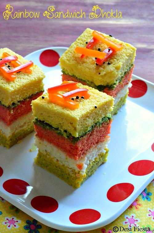 Rainbow dhokla recipe
