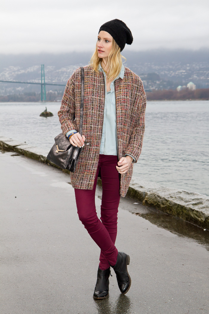 Vancouver Fashion Blogger, Alison Hutchinson, wearing Topshop Coat and boots, Urban Outfitters beenie and chambray top, Botkier Metallic Valentina Bag, H&M burgundy jeans, J Crew, Stella & Dot, and True Worth Design Bracelets