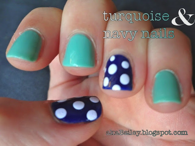 turquoise and navy nail polish, white polka dots
