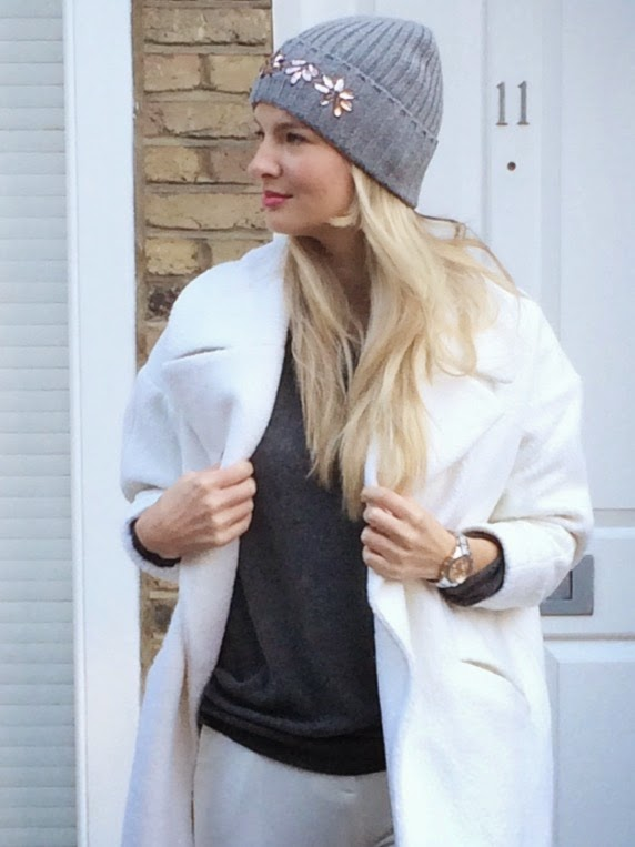 Topshop beanie, topshop embellished beanie, grey beanie asos slouchy coat