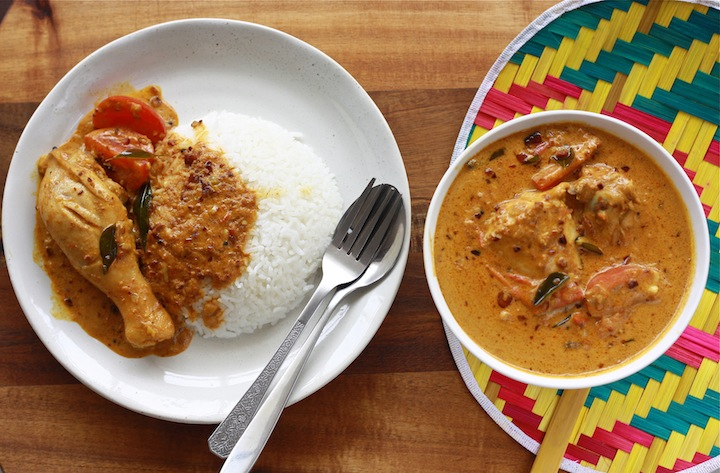 Malaysian Satay Chicken curry with rice and SPICES