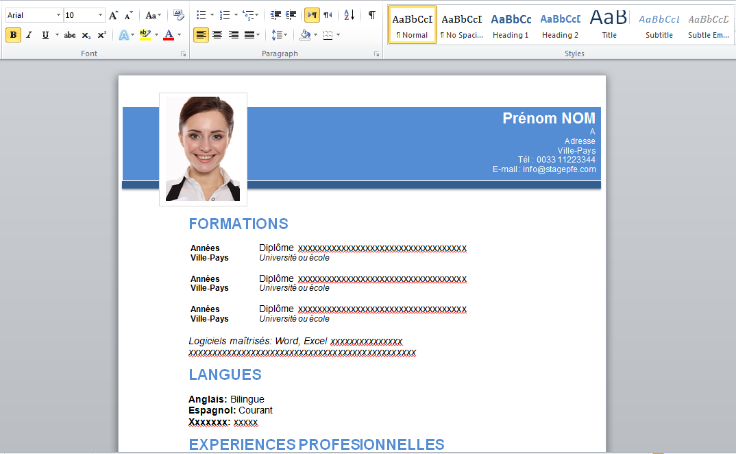 download free curriculum vitae 2015  word