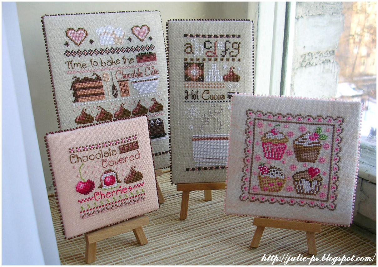 Casey Buonaugurio Chocolate Cake Sampler Hot Cocoa Sampler Chocolate Covered Cherries pinkeep пинкип вышивка cross stitch пирожные Cupcakes fruit rouge