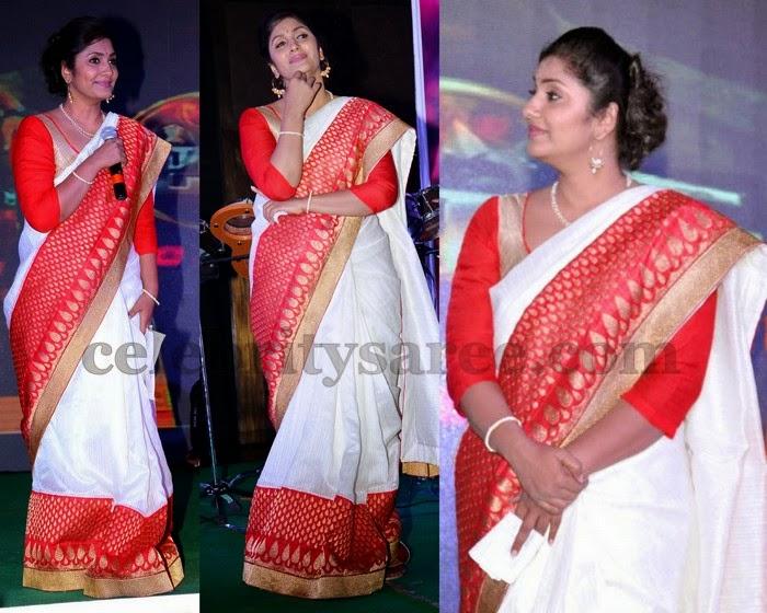 Anchor Jhansi White Designer Sari