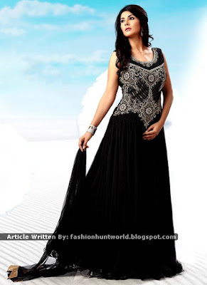 Black Net Gown | Black B Grey Shade Layered Anarkali Gown