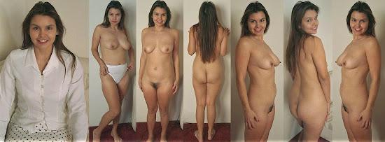mulher vestida e sem roupa com corpo natural e buceta com pêlos