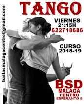 CURSO 2018-19 TANGO INICIACIÓN  CURSO INTENSIVO EN BSD MÁLAGA CENTRO.