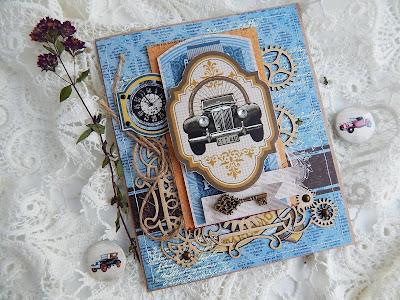 автор Hellen, открытка, мужская открытка, Коллекция Автовинтаж, чипборд