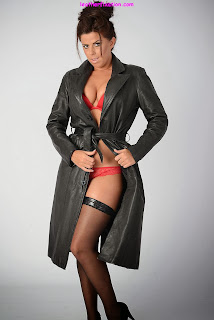 Red Hot Lingerie under Leather Trench Coat