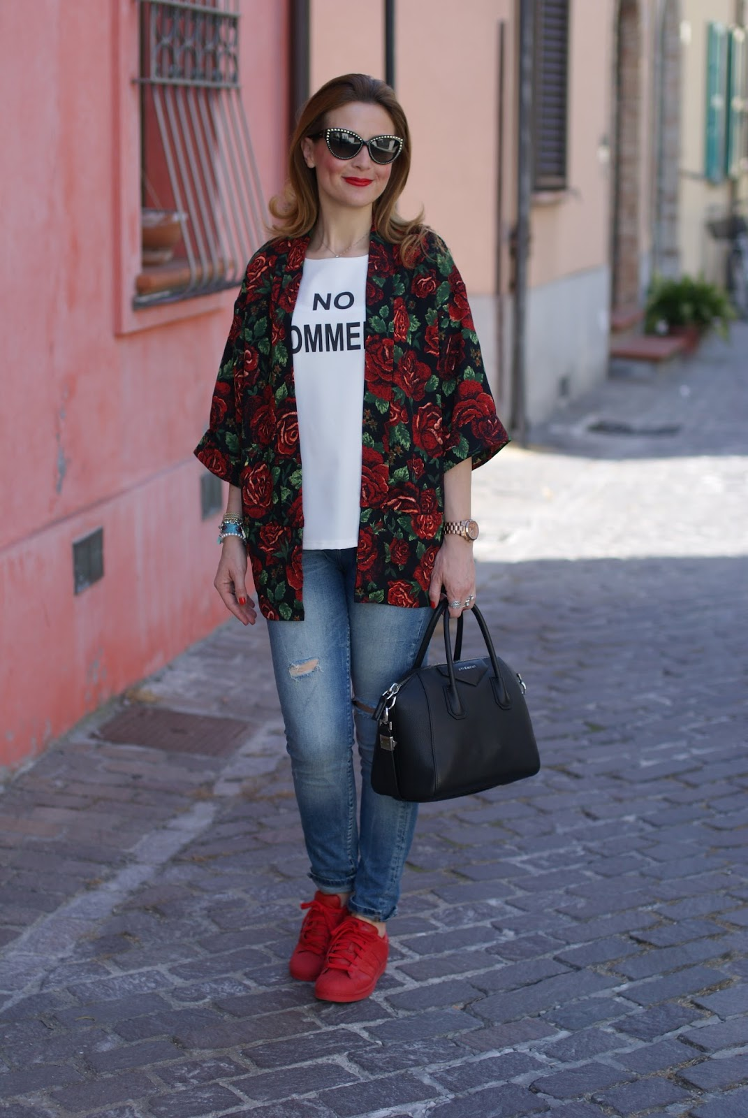Red roses vest and red adidas sneakers on Fashion and Cookies fashion blog