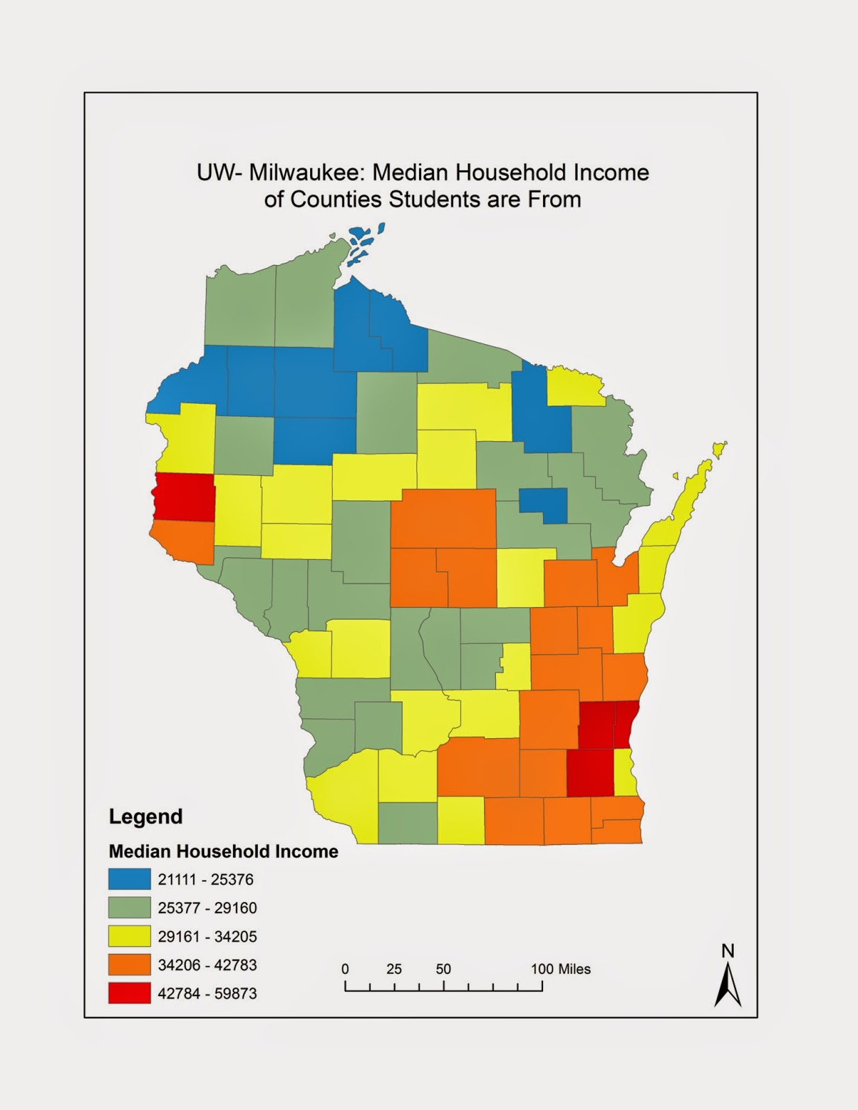 a bimodal map showing the z scores of median household income for counties where uw milwaukee students are from the counties are ones that have students