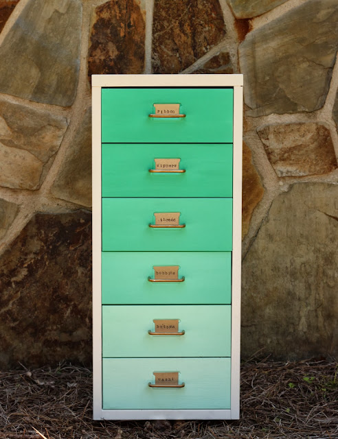 Green ombre filing drawers, via Put up your dukes