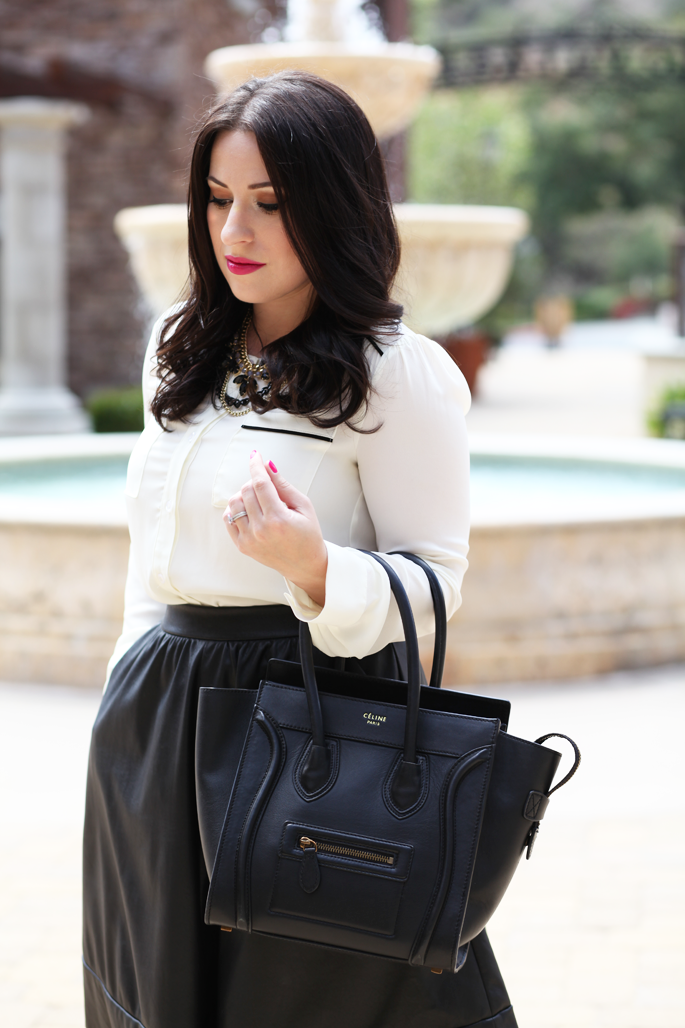 le-tote-blogger-faux-leather-full-skirt-celine-bag-black-and-white-oufit-ideas
