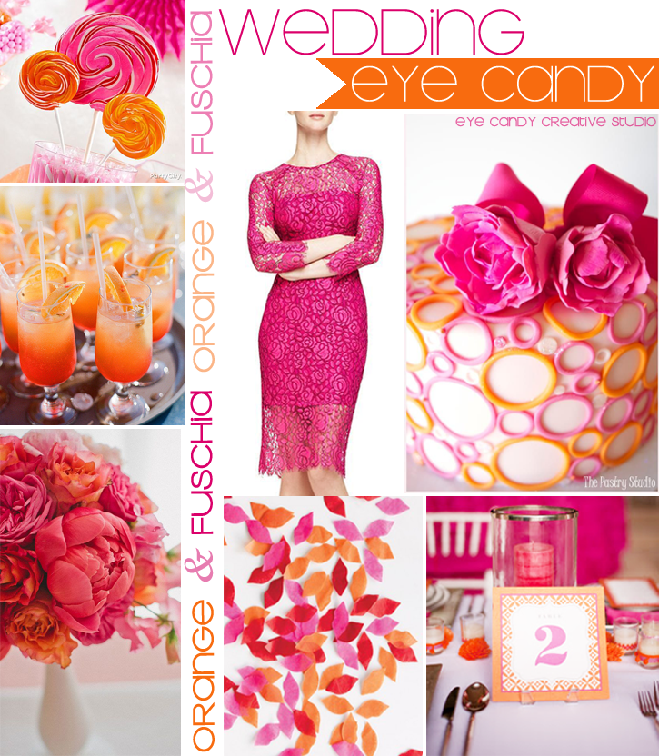 wedding ideas, orange & fuschia inspiration board, orange wedding, fuschia wedding