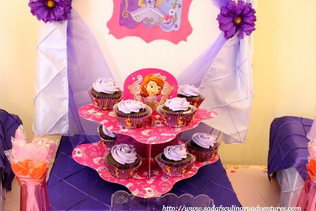 Sofia the First Chocolate Cupcakes with Vanilla ButtercReam Frosting