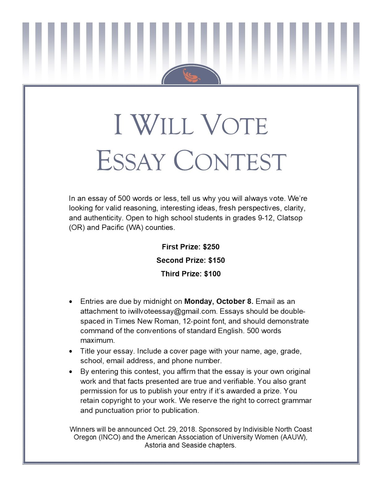 I WILL VOTE ESSAY CONTEST