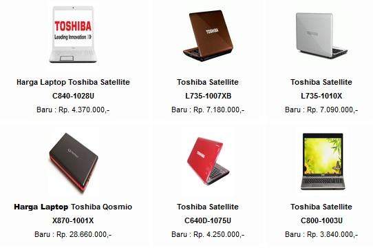 harga laptop toshiba diatas adalah harga laptop toshiba dengan harga