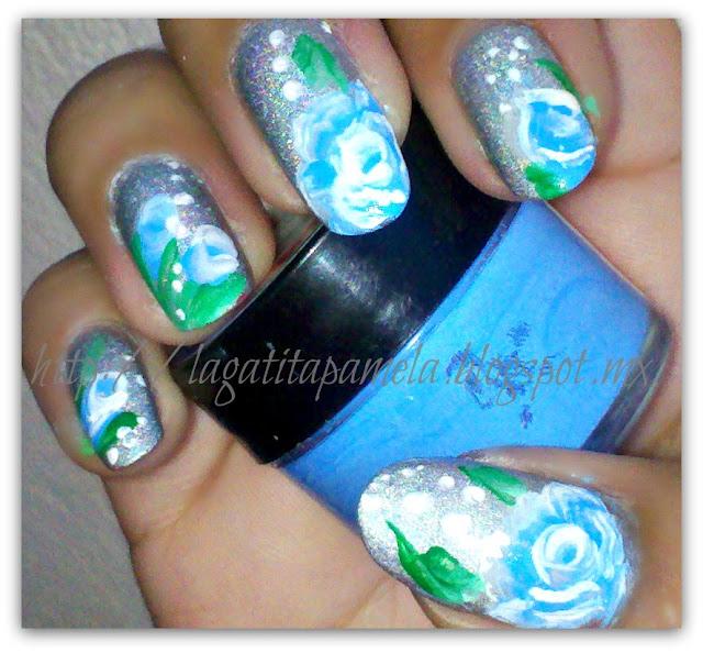 one stroke blue roses