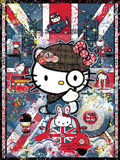 Hello Kitty London England with Hello Kitty as Sherlock Holmes Poster