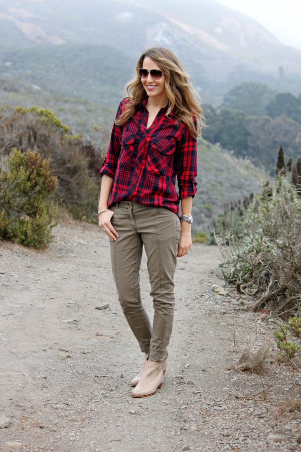 Red plaid shirt, skinny utility pants & tan booties