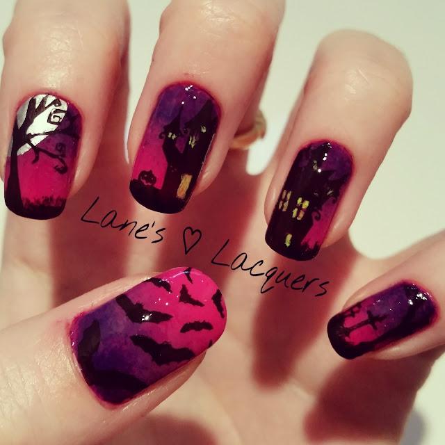 40-great-nail-art-ideas-halloween-spooky-scene-ombre-stamped-manicure