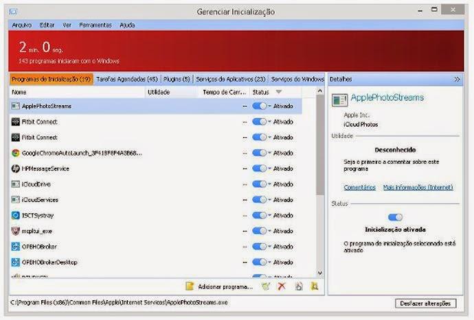Na opção gerenciar inicialização, são exibidos todos os programas carregados durante o processo, e uma estimativa de tempo necessário para que o computador esteja pronto para o uso