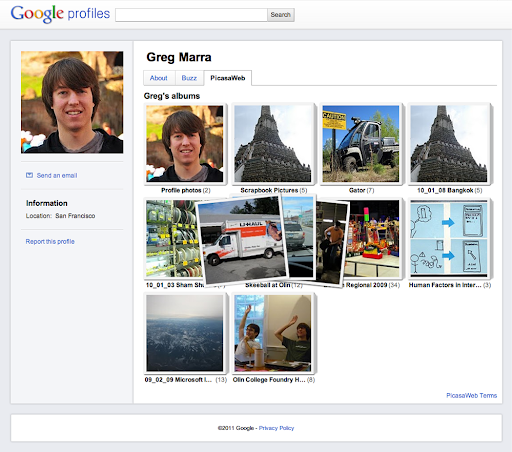 A sample Google Profile with Picasa album integration